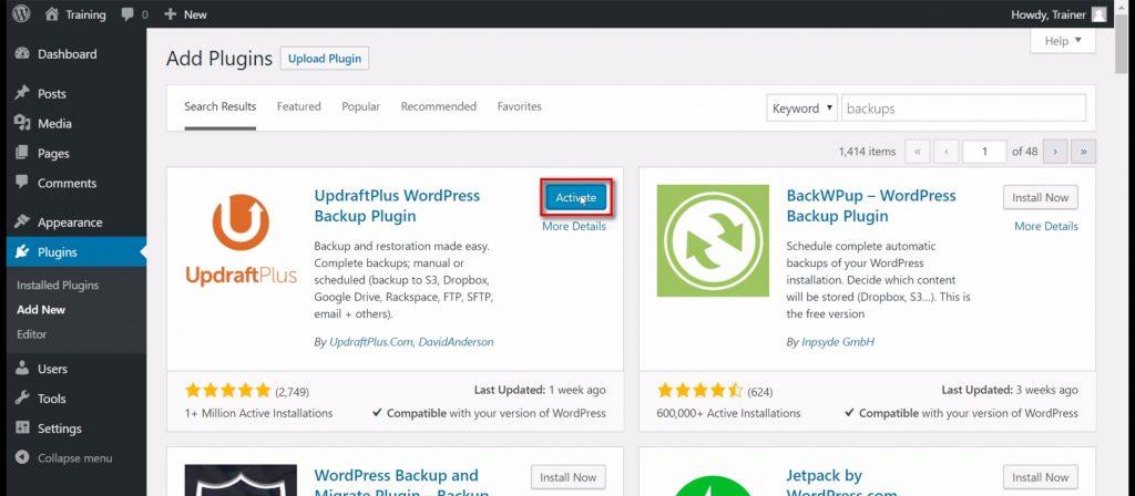 Activate BackupDraft plugin screenshot