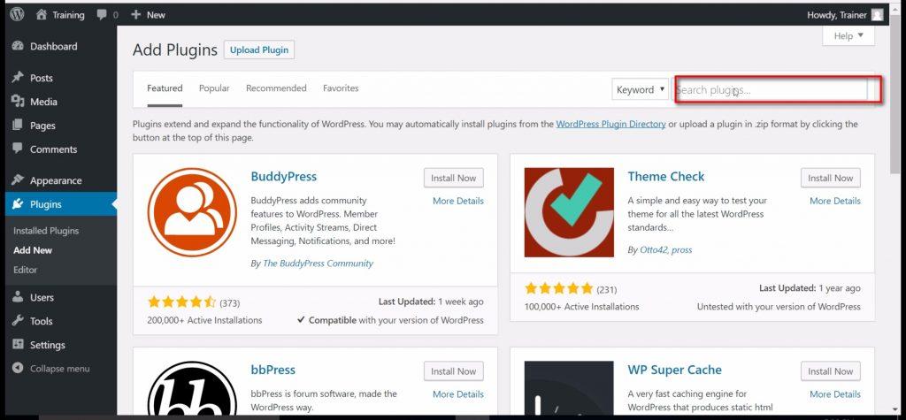 Search plugins screenshot