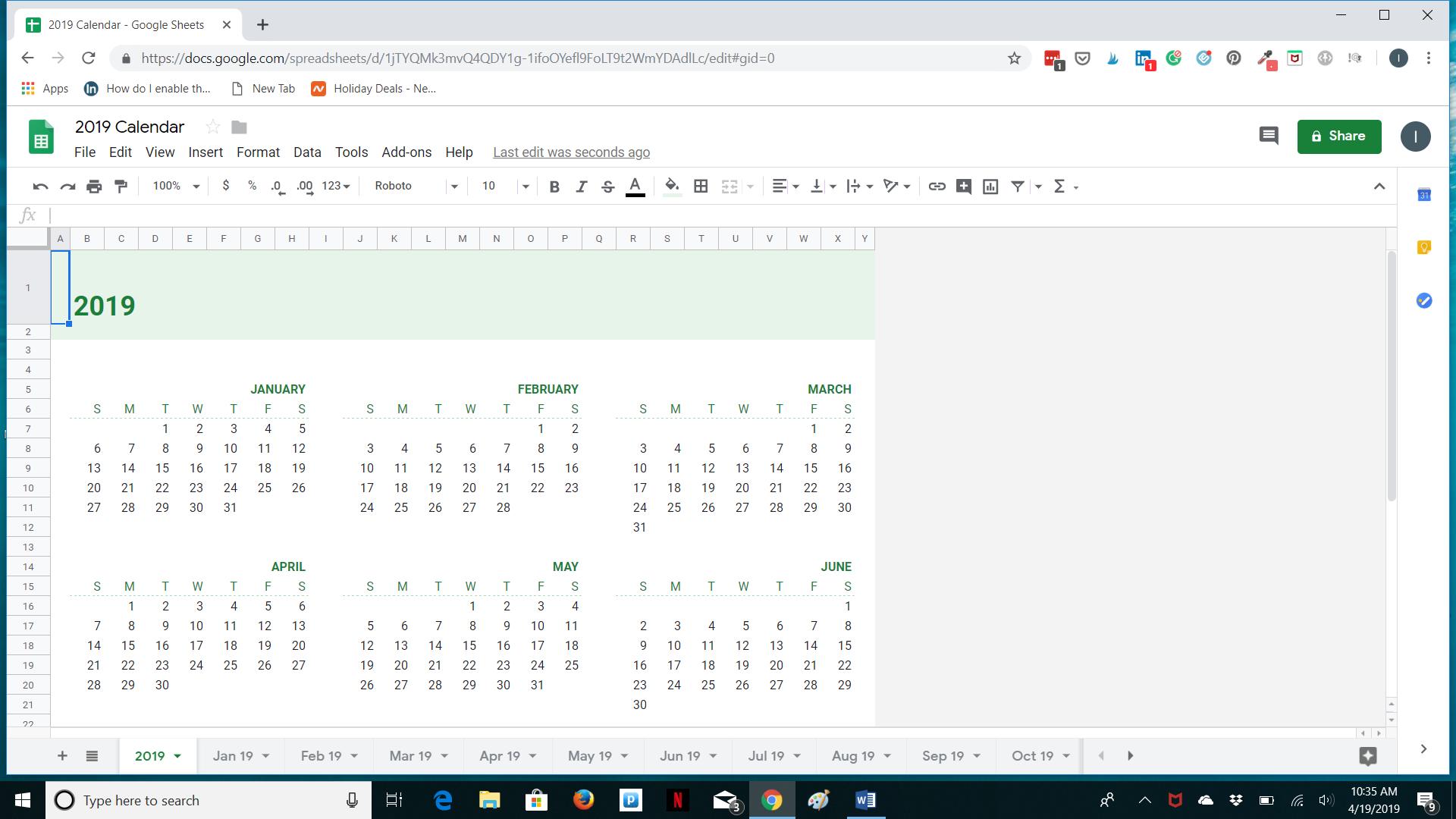 Google Sheets Calendar Management