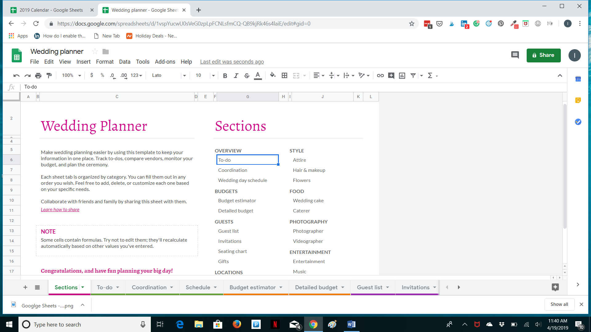 Google Sheets - Planning
