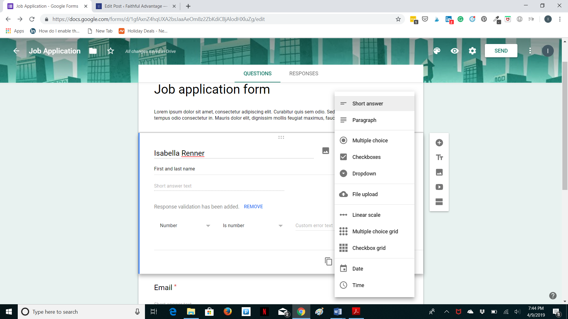 Google forms - options