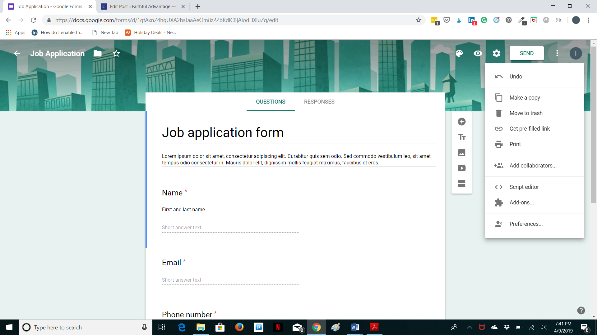Google forms - share options