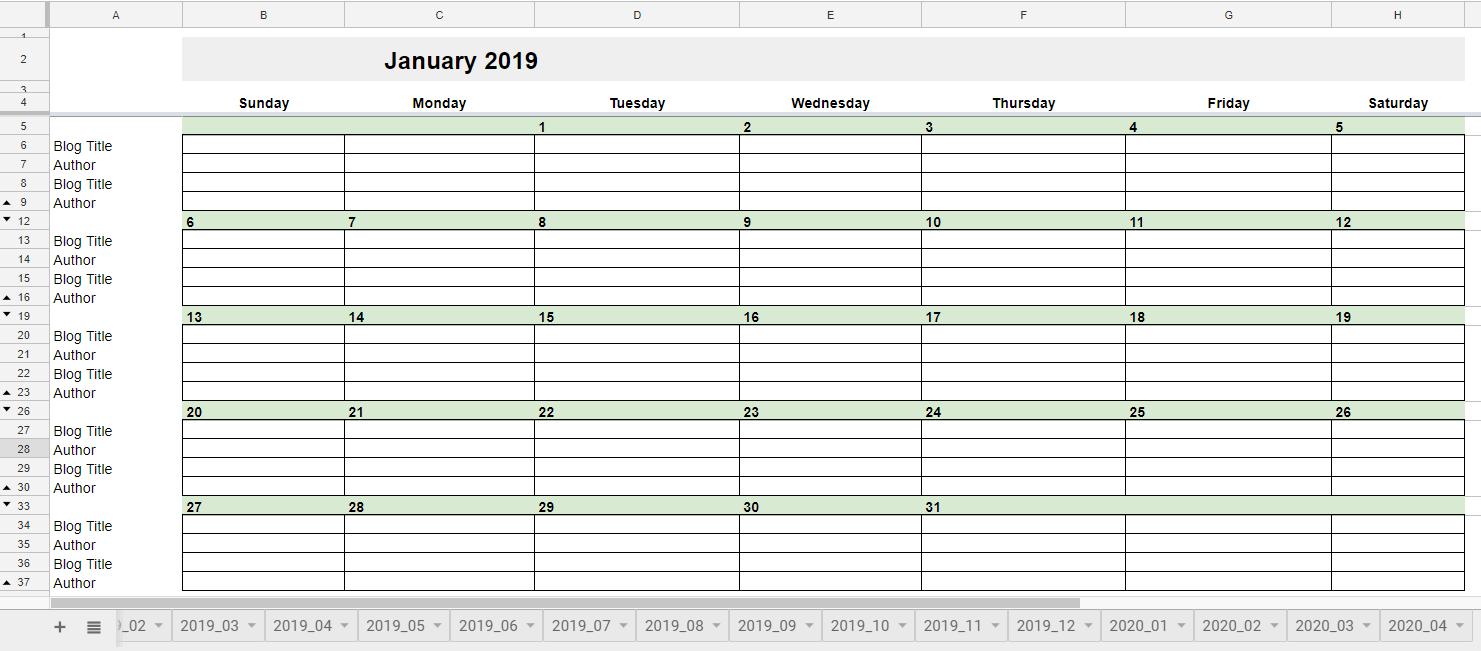 Google Sheets - Editorial Calendar
