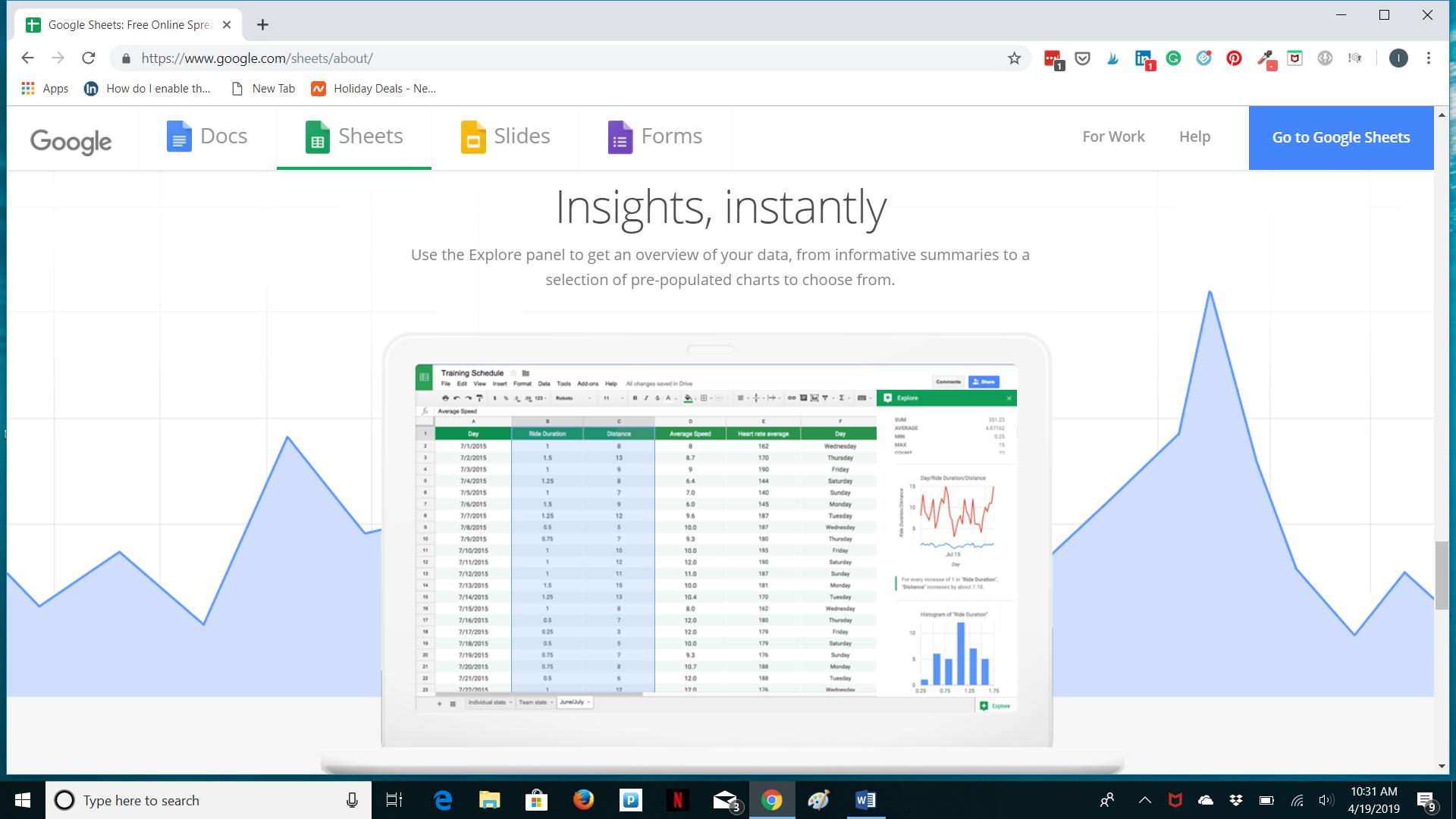 Google Sheets analysis