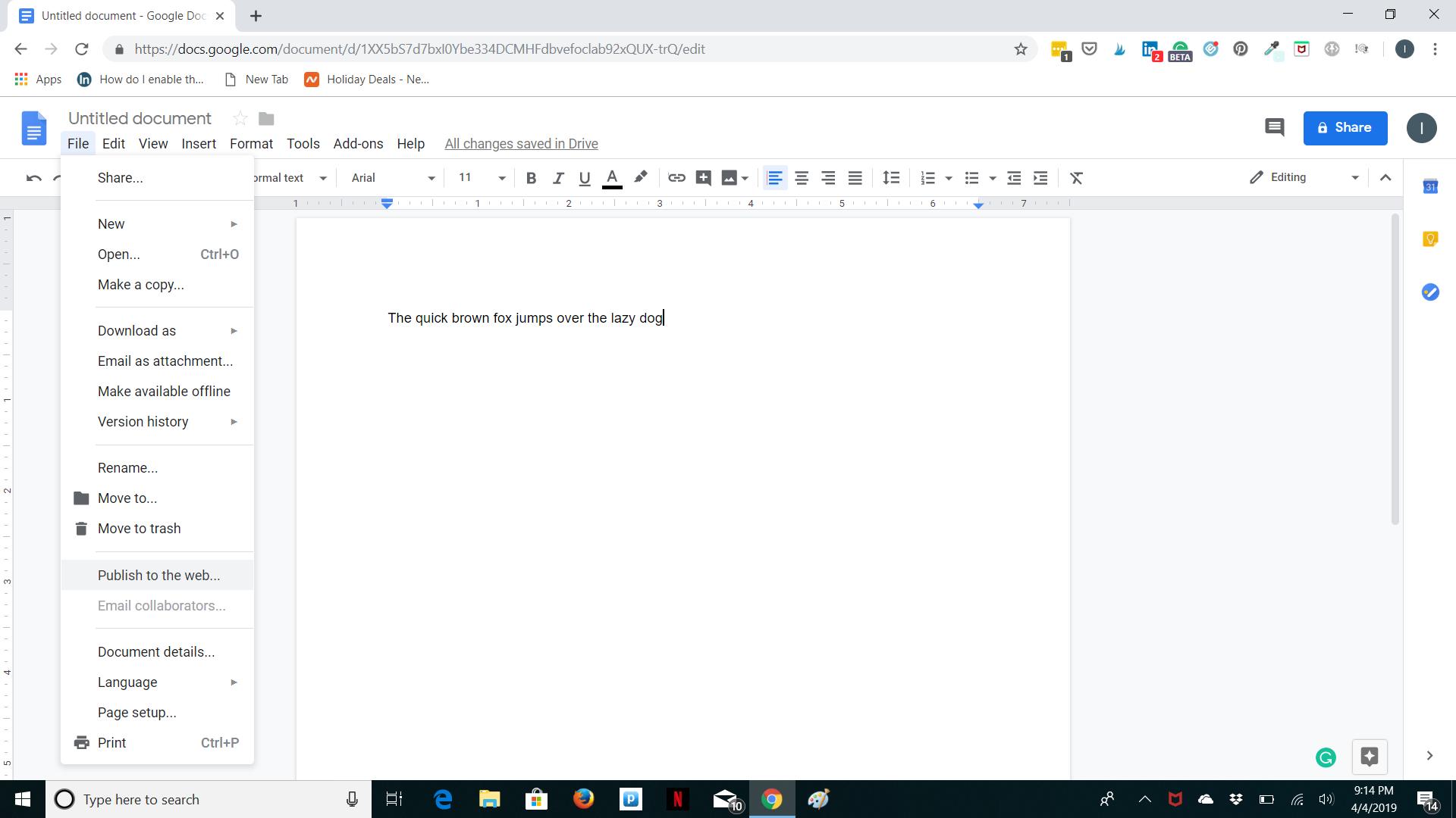 Google Docs Main Screen